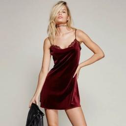 Elegant-Lace-Fringe-font-b-Velvet-b-font-font-b-Strap-b-font-Dress-Robe-Off